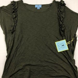 Cece Womens Short Sleeve Green Blouse Size-L